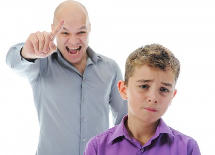 11361240 - strict father punishes his son